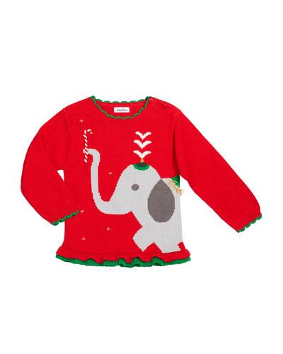 Girl's Elephant Intarsia Sweater  Size 12M-7