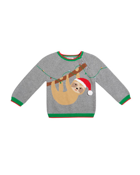 Zubels Boy's Sloth Intarsia Sweater, Size 12M-7