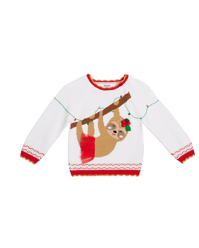 Girl's Sloth Intarsia Sweater, Size 12M-7