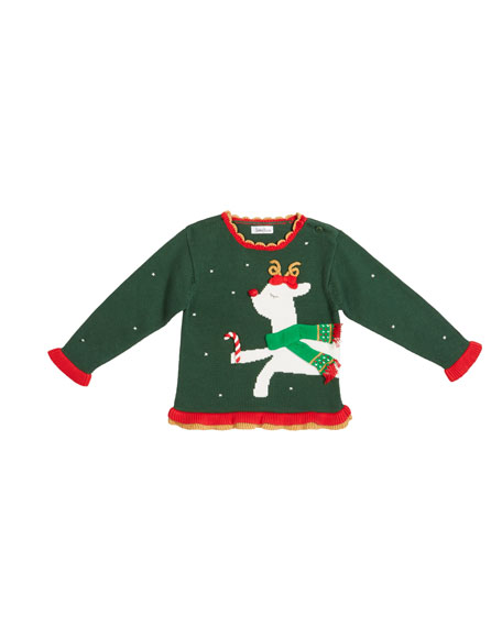 Zubels Girl's Reindeer Intarsia Holiday Sweater, Size 12M-7