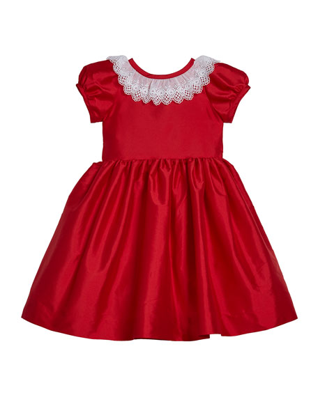 Susanne Lively Girl's Matte Sateen Dress with Lace Collar, Size 12M-3