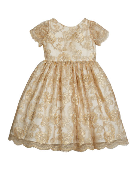 Susanne Lively Girl's Floral Lace Short-Sleeve Fit-&-Flare Dress, Size 12M-3