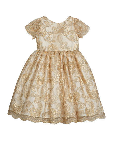 Susanne Lively Girl's Floral Lace Short-Sleeve Fit-and-Flare Dress, Size 4-6X