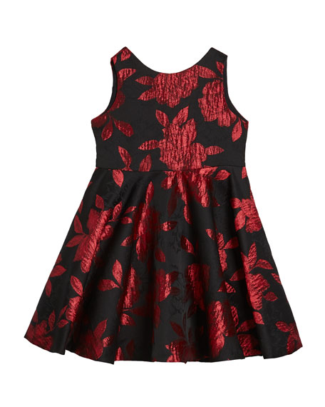 Susanne Lively Girl's Rose Jacquard Sleeveless Twirl Dress, Size 4-6X