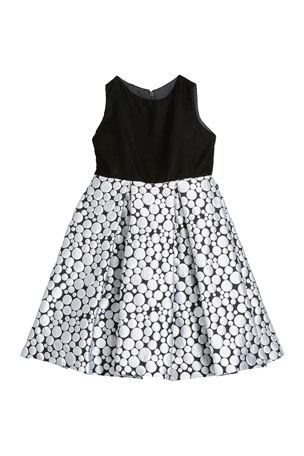 Susanne Lively Girl's Bubble Brocade Skirt w/ Velvet Top Dress, Size 12M-3