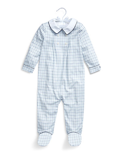Boy's Tattersall Plaid Interlock Footed Coverall, Size 3-9 Months