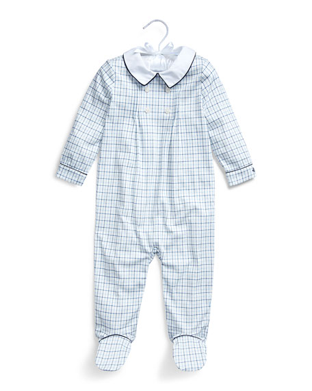 Ralph Lauren Childrenswear Boy's Tattersall Plaid Interlock Footed Coverall, Size 3-9 Months