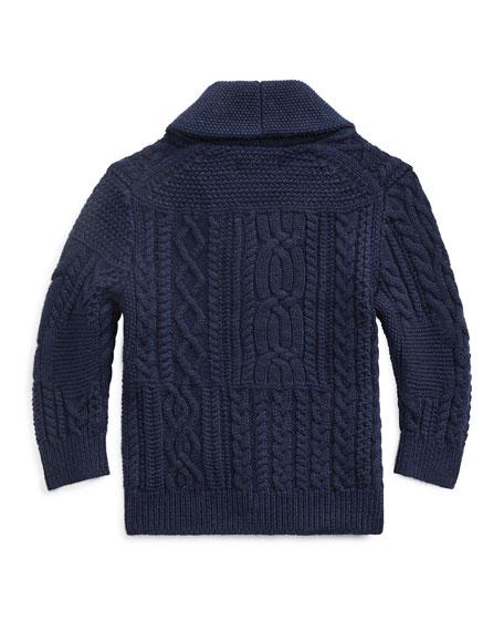 Ralph Lauren Childrenswear Boy's Merino Wool Blend Patchwork Shawl Cardigan, Size 6-24 Months