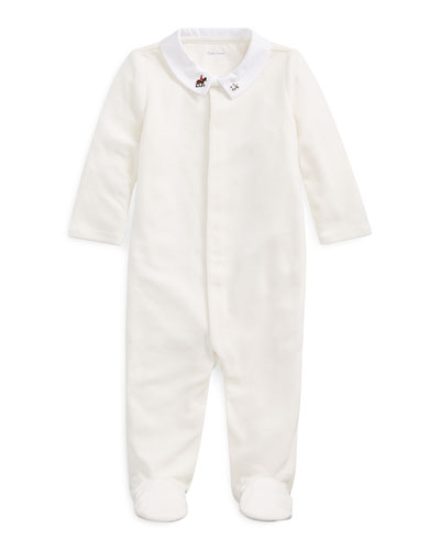 Boy's Velour Footed Coverall, Size 3-9 Months