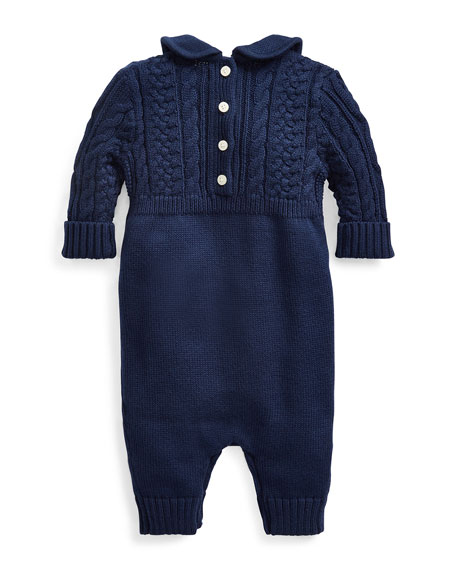 Ralph Lauren Childrenswear Cable-Knit Cotton Coverall, Blue, Size 3-9 Months