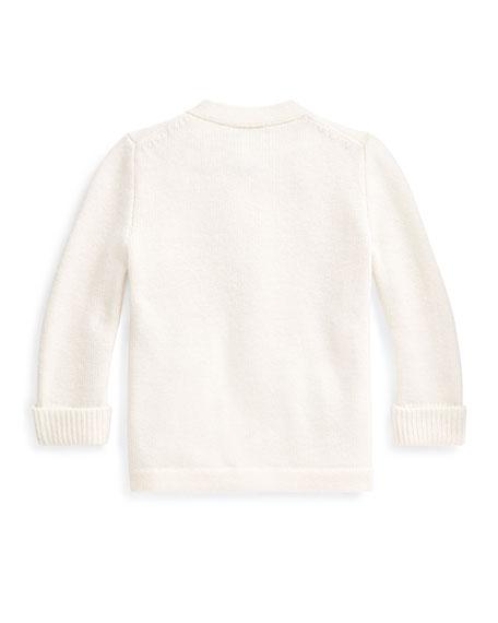 Ralph Lauren Childrenswear Kid's Merino Wool V-Neck Sweater Cardigan, Size 6-24 Months
