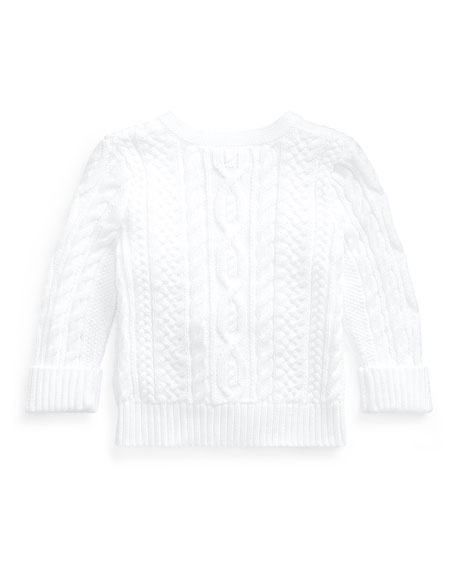 Image 2 of 2: Ralph Lauren Childrenswear Cotton Cable-Knit Cardigan, 6-24 Months