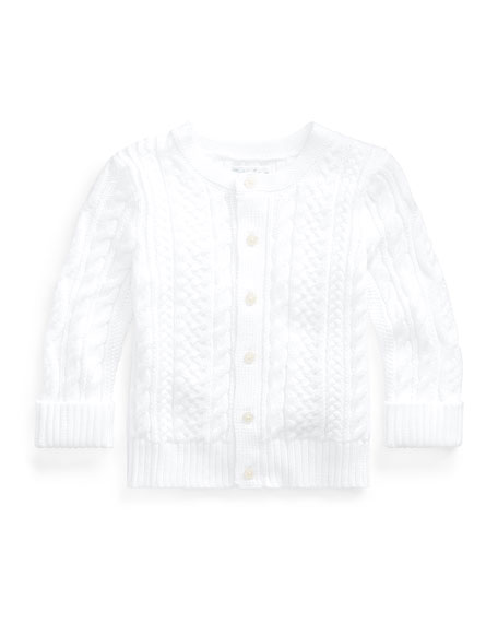 Image 1 of 2: Ralph Lauren Childrenswear Cotton Cable-Knit Cardigan, 6-24 Months