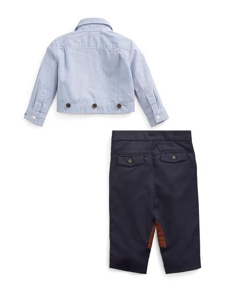 Ralph Lauren Childrenswear Boy's Broadcloth Woven Shirt w/ Twill Pants, Size 6-24 Months
