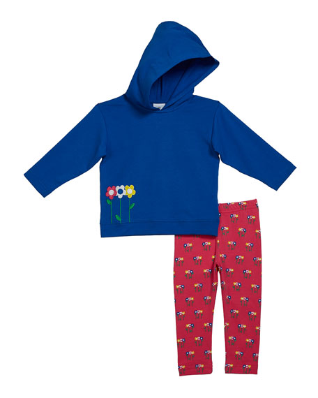 Florence Eiseman Girl's French Terry Flower Applique Hoodie w/ Matching Leggings, Size 2-6X