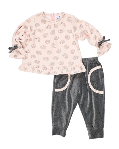 Girl's Velour Hedgehog-Print Top w/ Matching Jogger Pants, Size 6-24 Months