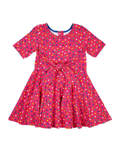 Girl's Dot Printed Short-Sleeve Dress, Size 2-6X