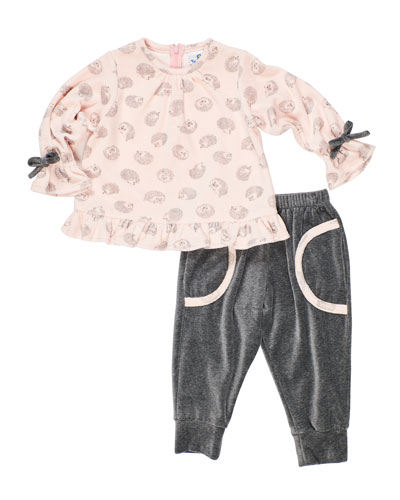 Girl's Velour Hedgehog-Print Top w/ Matching Jogger Pants, Size 2-6X
