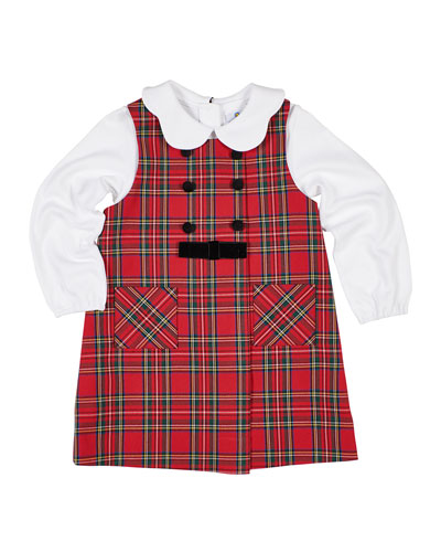 Girl's Tartan Plaid Jumper w/ Scalloped Collar Blouse, Size 12-24 Months