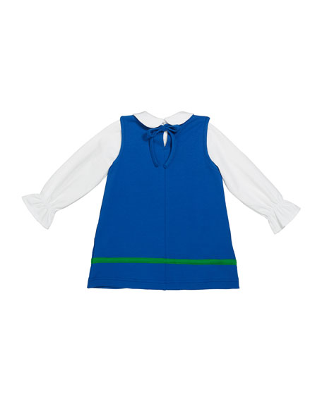Florence Eiseman Girl's French Terry Flower Jumper w/ Long-Sleeve Knit Blouse, Size 2-6X