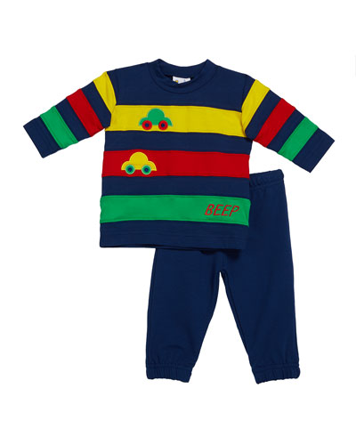 Boy's Beep Beep Multicolor Banded Shirt w/ Cars & Jogger Pants  Size 6-24 Months