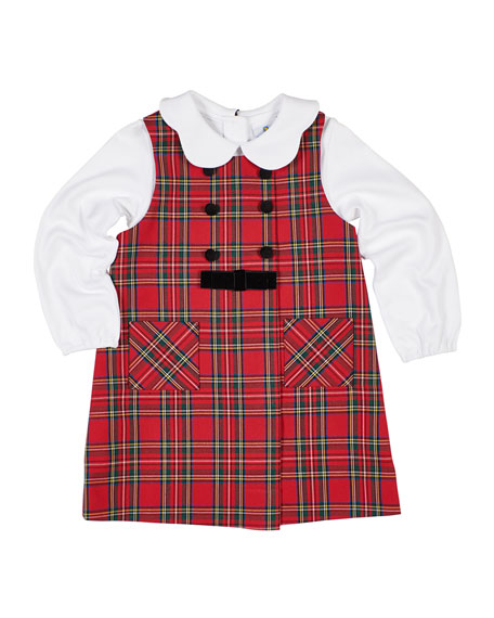 Florence Eiseman Girl's Tartan Plaid Jumper w/ Scalloped Collar Blouse, Size 2-6X