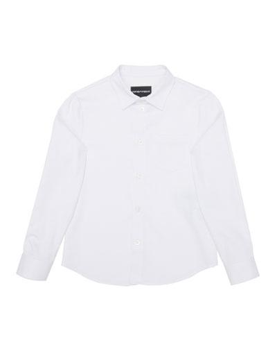 Boy's Poplin Stretch Button Down Shirt  Size 4-16