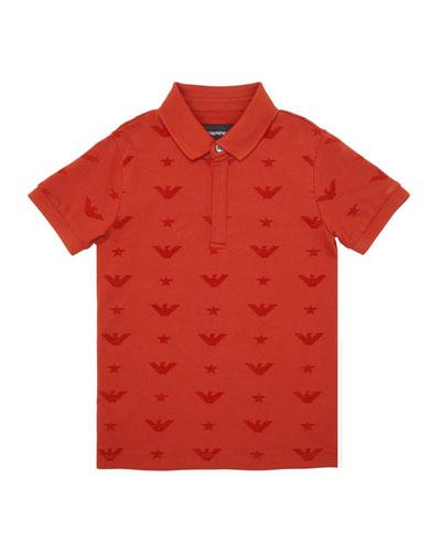 Boy's Eagle Jacquard Polo Shirt  Size 4-16