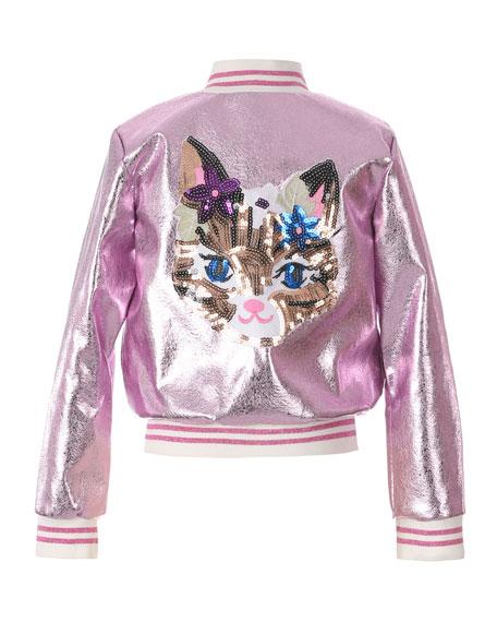 Hannah Banana Girl's Metallic Bomber Jacket w/ Sequin Cat Face, Size 7-16