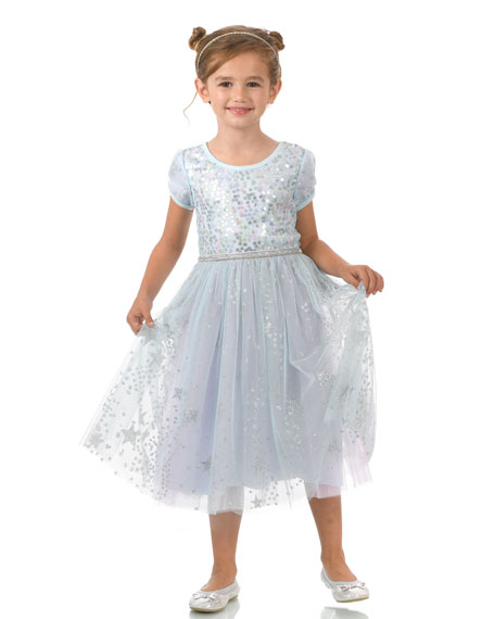 Hannah Banana Girl's Ice Princess Sequin Glitter Dress, Size 7-10