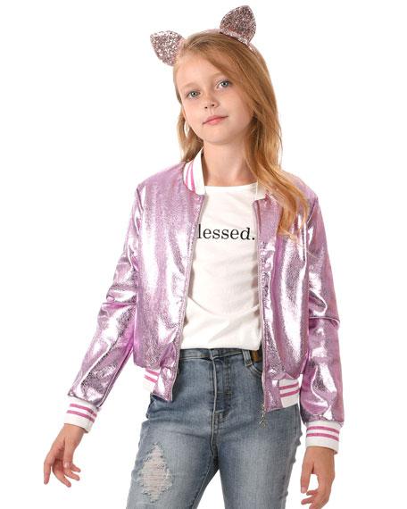 Hannah Banana Girl's Metallic Bomber Jacket w/ Sequin Cat Face, Size 2-6