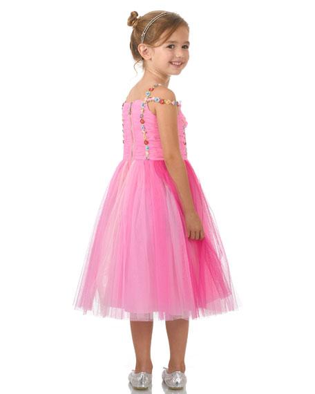Hannah Banana Girl's Pink Princess Tulle Dress, Size 7-10