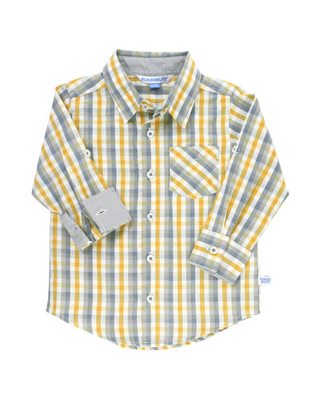 RuffleButts Boy's Parker Plaid Shirt w/ Cable Knit Shawl Sweater, Size 3-24 Months