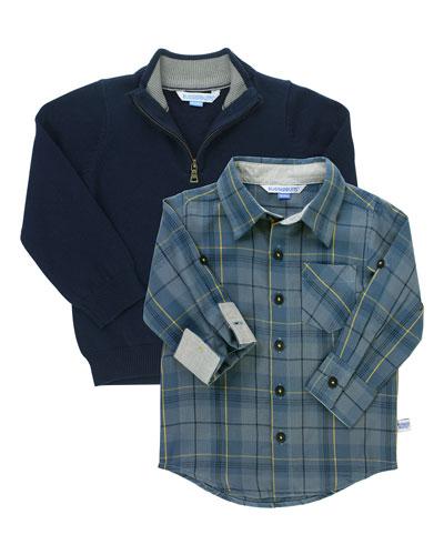 Boy's Noah Plaid Shirt w/ 1/4-Zip Pullover Sweater, Size 3-24 Months