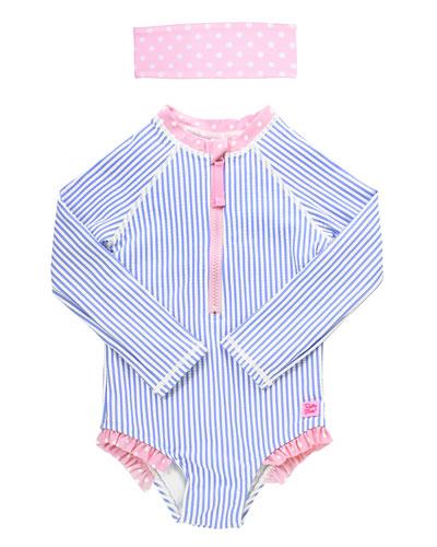 Girl's Striped One-Piece Rash Guard Swimsuit w/ Headband  Size 2T-8