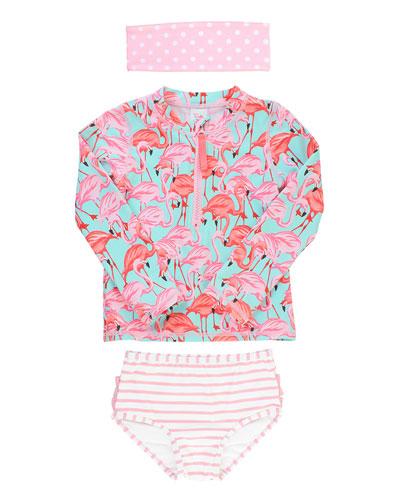 Girl's Flamingo Zip Rash Guard w/ Swim Bottoms & Headband  Size 0M-8