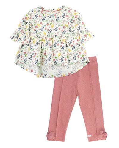 Girl's A Floral Affair Top w/ Ponte Pants, Size 3M-8
