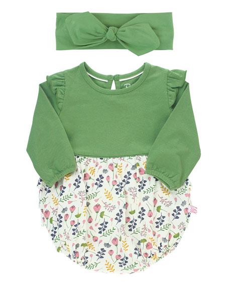 RuffleButts Girl's A Floral Affair Ruffle Bodysuit w/ Bow Headband, Size 0-24 Months