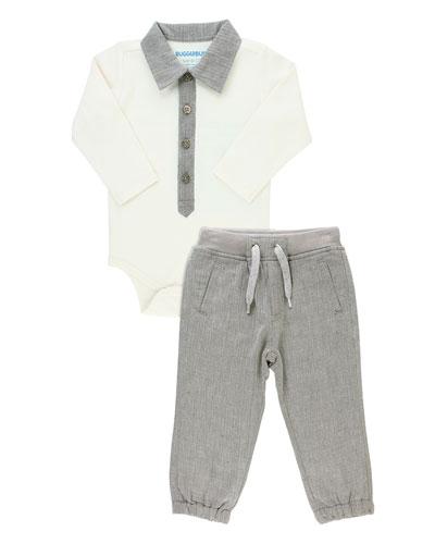 Boy's Polo Bodysuit w/ Jogger Pants, Size 0-18 Months