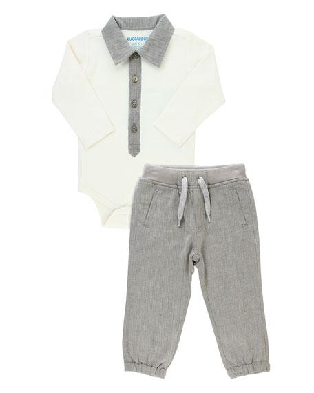 RuffleButts Boy's Polo Bodysuit w/ Jogger Pants, Size 0-18 Months
