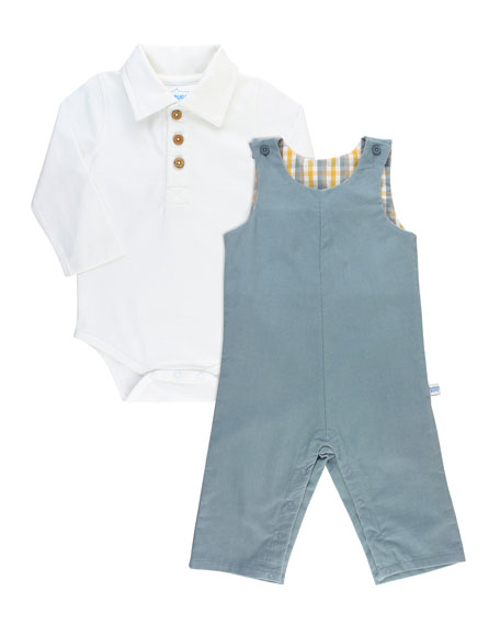 RuffleButts Boy's Polo Bodysuit w/ Corduroy Overalls, Size 0-18 Months