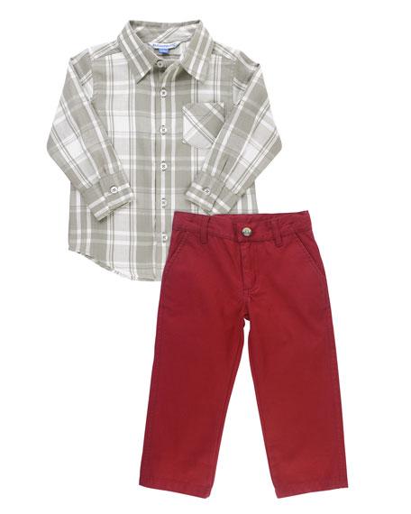 RuffleButts Boy's Plaid Shirt w/ Chino Pants, Size 3-24 Months