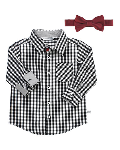 Boy's Gingham Shirt w/ Bow Tie, Size 3-24 Months