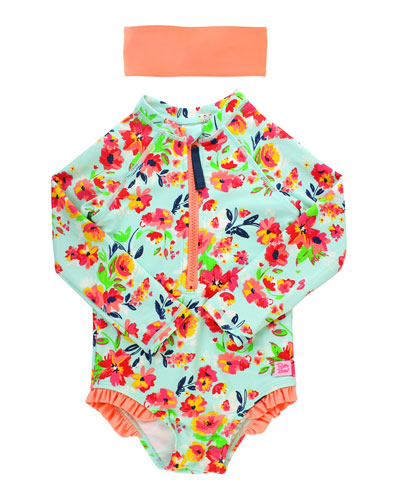 Girl's Floral Print One-Piece Rash Guard Swimsuit w/ Headband, Size 2T-8