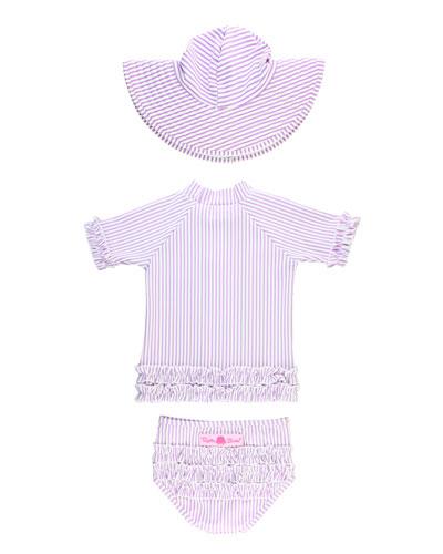 Girl's Striped Short-Sleeve Rash Guard w/ Bottoms & Sun Hat  Size 0M-8