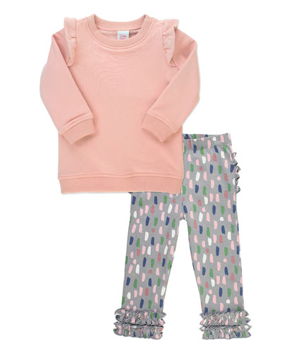 Girl's Ruffle Sweatshirt w/ Confetti Print Leggings  Size 3M-8
