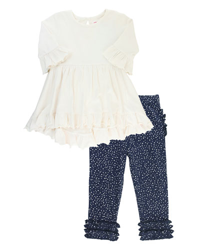 Girl's Ruffle Tunic w/ Dot Print Leggings  Size 3M-8