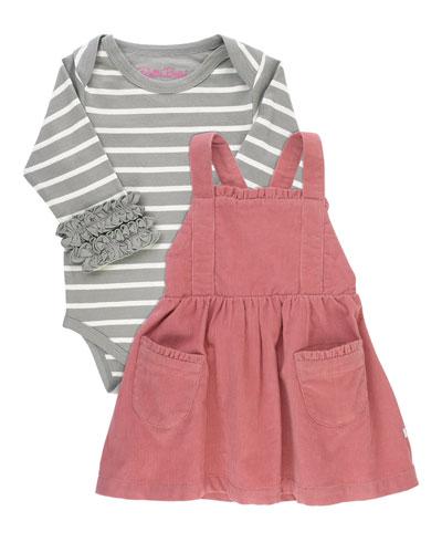 Girl's Stripe Bodysuit w/ Pinafore Dress, Size 0-24 Months