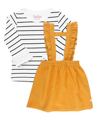 Girl's Corduroy Skirt Overalls w/ Stripe Tee  Size 12M-8