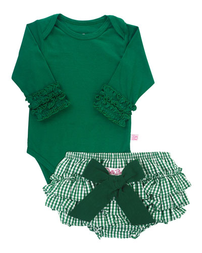 Girl's Ruffle Cuff Bodysuit w/ Gingham Bloomers, Size 0-24 Months